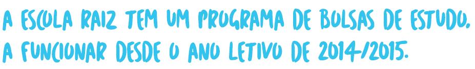 A escola raiz tem um programa de bolsas de etudo, a funcionar desde o ano letivo 2014/15